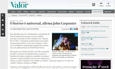 Entrevista John Carpenter - Festival do Rio. Valor Econômico, out/12. Íntegra em https://ursodelata.com/2012/10/02/john-carpenter-a-entrevista/
