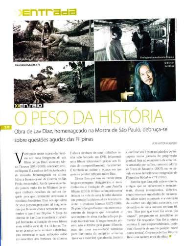 Artigo sobre Lav Diaz. Revista Preview, dez/13