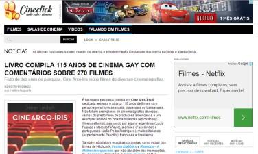 Resenha do livro Cine Arco-Íris. Cineclick. Íntegra em http://www.cineclick.com.br/falando-em-filmes/noticias/livro-compila-115-anos-de-cinema-gay-com-comentarios-sobre-270-filmes