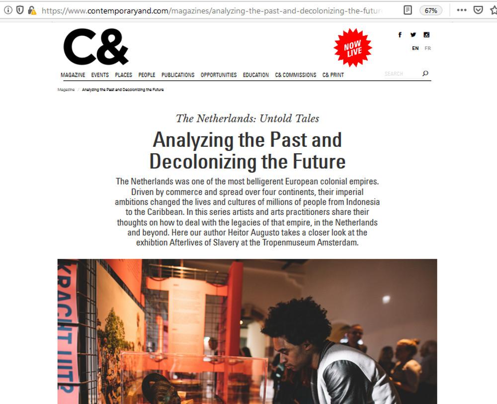 """Crítica da exposição """"Afterlives of Slavery"""". Contemporary & - Íntegra do texto: https://www.contemporaryand.com/magazines/analyzing-the-past-and-decolonizing-the-future/"""