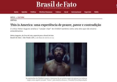 """Crítica de """"This is America"""", clipe com Childish Gambino. Íntegra em: https://www.brasildefato.com.br/2018/05/09/this-is-america-uma-experiencia-de-prazer-pavor-e-contradicao/"""
